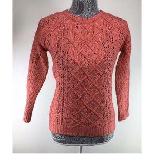 LOFT Ann Taylor XS Red Sweater Open Knit Wool